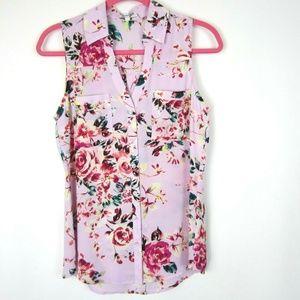 Express Portofino Shirt Lavender Floral S Like New